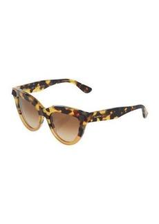 Valentino Split Two-Tone Animal-Print Acetate Cat-Eye Sunglasses