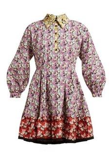 Valentino Spring Garden-print collared cotton dress