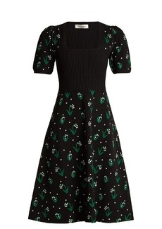 Valentino Square-neck snowdrop-jacquard dress