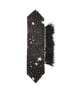 Valentino Garavani Star-print and feather silk scarf