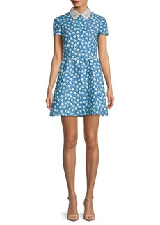 Valentino Star-Print Embellished-Collar Dress