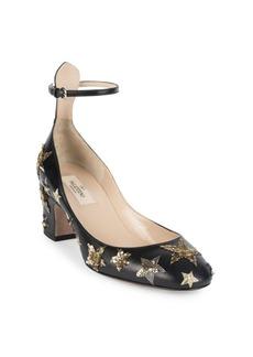 VALENTINO GARAVANI Star-Studded Leather Ankle-Strap Block Heel Pumps