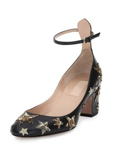 Valentino Star-Studded Low-Heel Ankle-Strap Pump