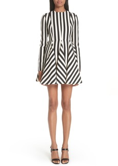 Valentino Stripe Crepe Dress