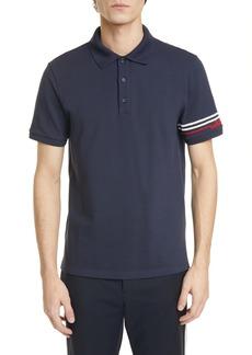 Valentino Stripe Short Sleeve Piqué Polo