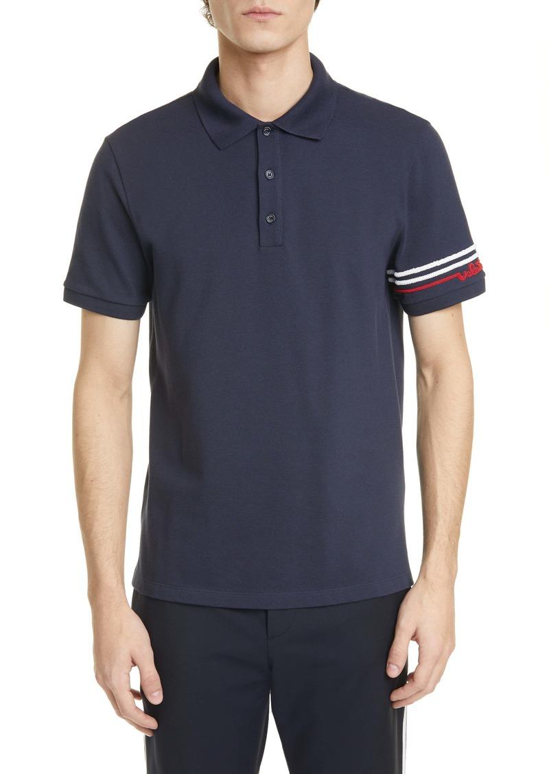 Valentino Stripe Piqué Polo