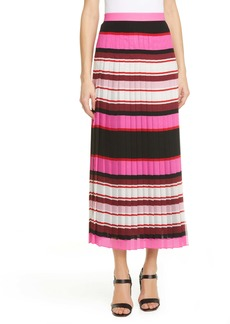 Valentino Stripe Pleat Silk Georgette Midi Skirt