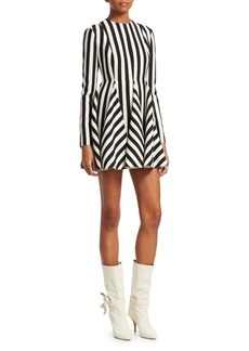 Valentino Striped Fit-and-Flare Dress