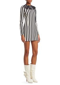 Valentino Striped Lace Appliqué Bodycon Dress