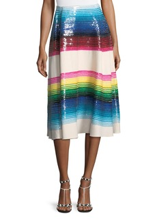 Valentino Striped Paillette Wool Midi Skirt