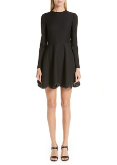 Valentino Studded Scallop Hem Dress