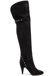 Valentino Studded Suede Over The Knee Boots