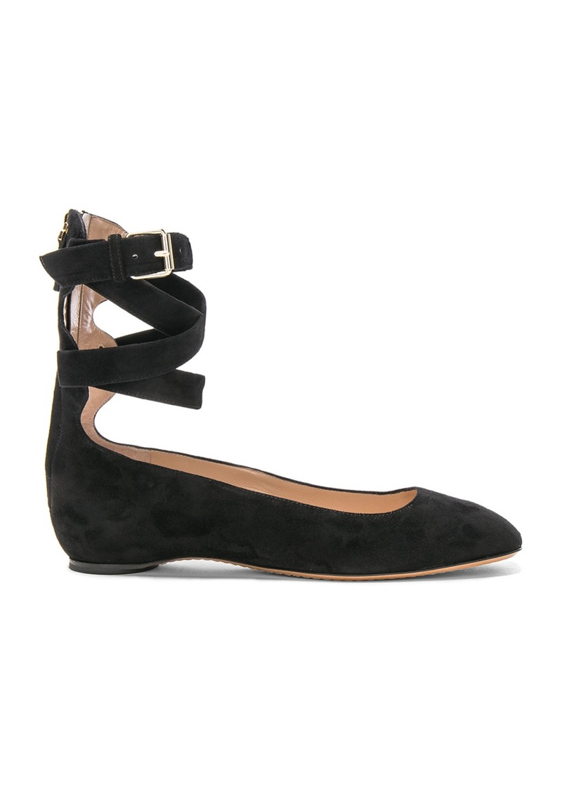 Valentino Valentino Suede Ankle Strap Flats  12cbbb0afaa9