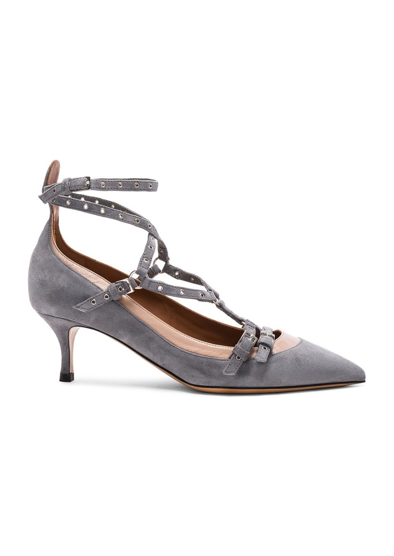 Valentino Suede Ankle Strap Kitten Heels