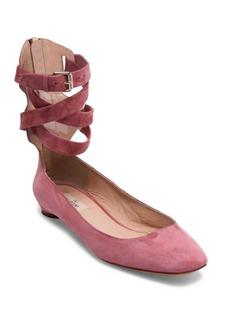 VALENTINO GARAVANI Suede Ankle-Wrap Flats