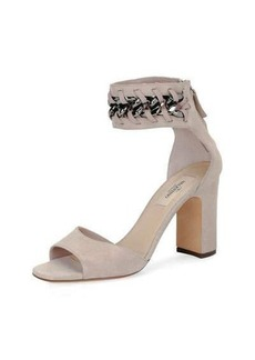 Valentino Suede Chain Ankle-Wrap Sandal