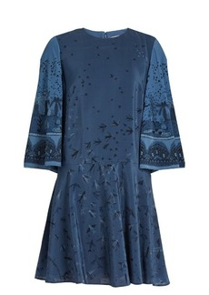 Valentino Swallow Metamorphosis-print silk mini dress