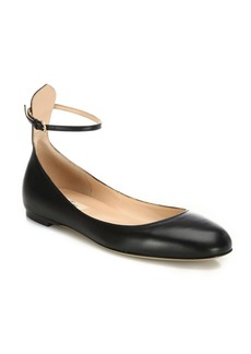 Valentino Tan-Go Leather Ankle-Strap Ballet Flats