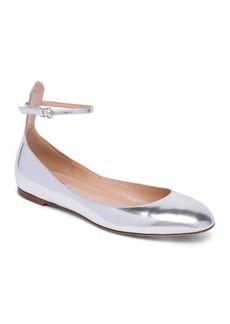Valentino Tan-Go Metallic Leather Ankle-Strap Ballet Flats