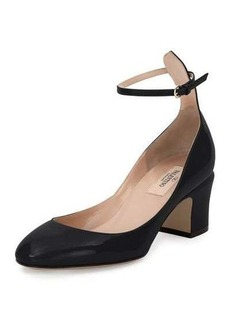 Valentino Tango Patent Ankle-Wrap Pump