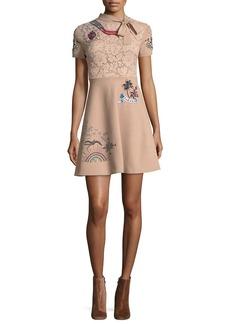 Valentino Tattoo-Embroidered Necktie A-Line Dress