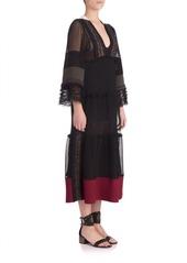 VALENTINO Textured Silk Midi Dress