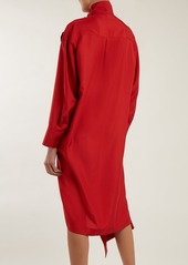 Valentino Tie-neck asymmetric silk dress