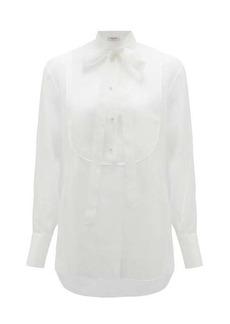 Valentino Tie-neck bib-front silk-organza blouse