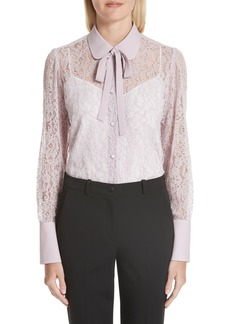 Valentino Tie Neck Chantilly Lace Shirt