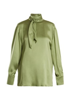 Valentino Tie-neck cowl-back silk-satin blouse
