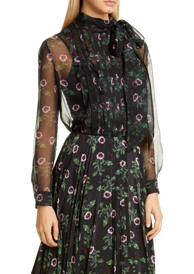 Valentino Tie Neck Floral Silk Chiffon Blouse