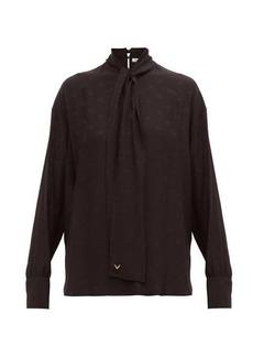Valentino Tie-neck logo-jacquard silk blouse