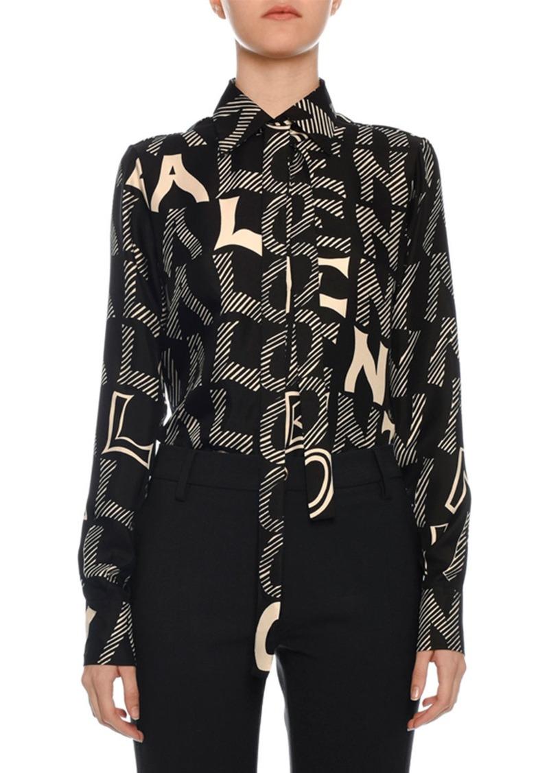 Valentino Tie-Neck Long-Sleeve Twill Blouse