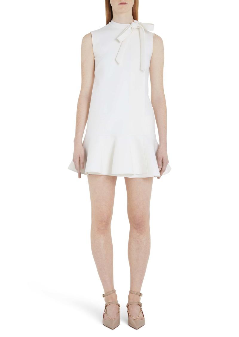 Valentino Tie Neck Ruffle Hem Wool Blend Minidress