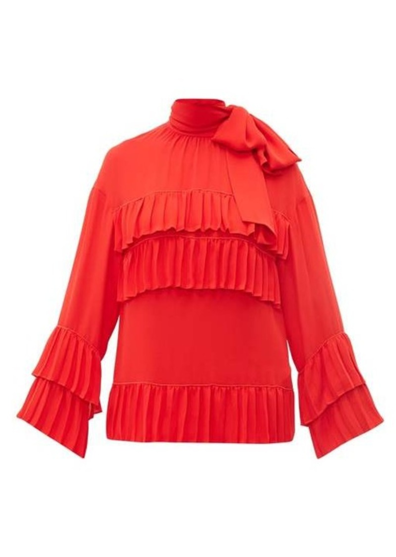 Valentino Tie-neck ruffle-trimmed silk blouse