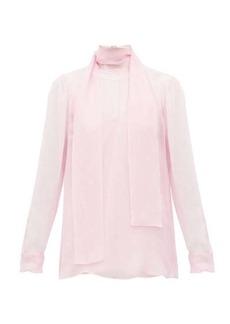 Valentino Tie-neck sheer chiffon blouse