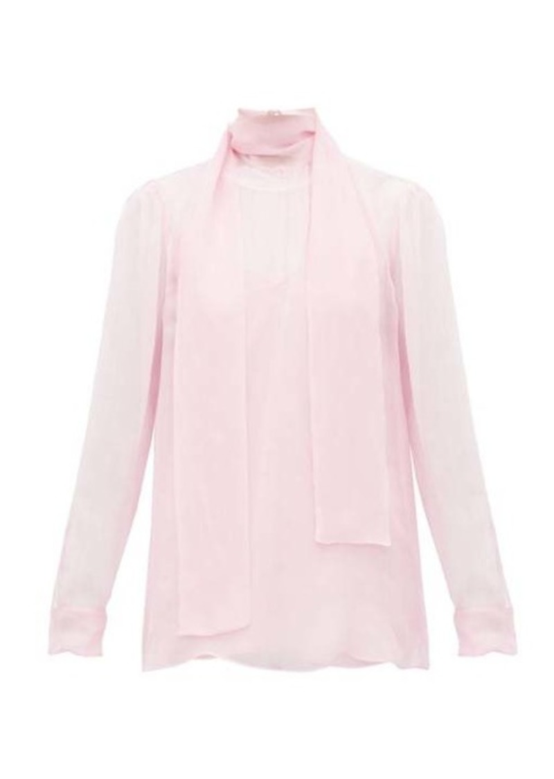 Valentino Tie-neck sheer chiffon blouse