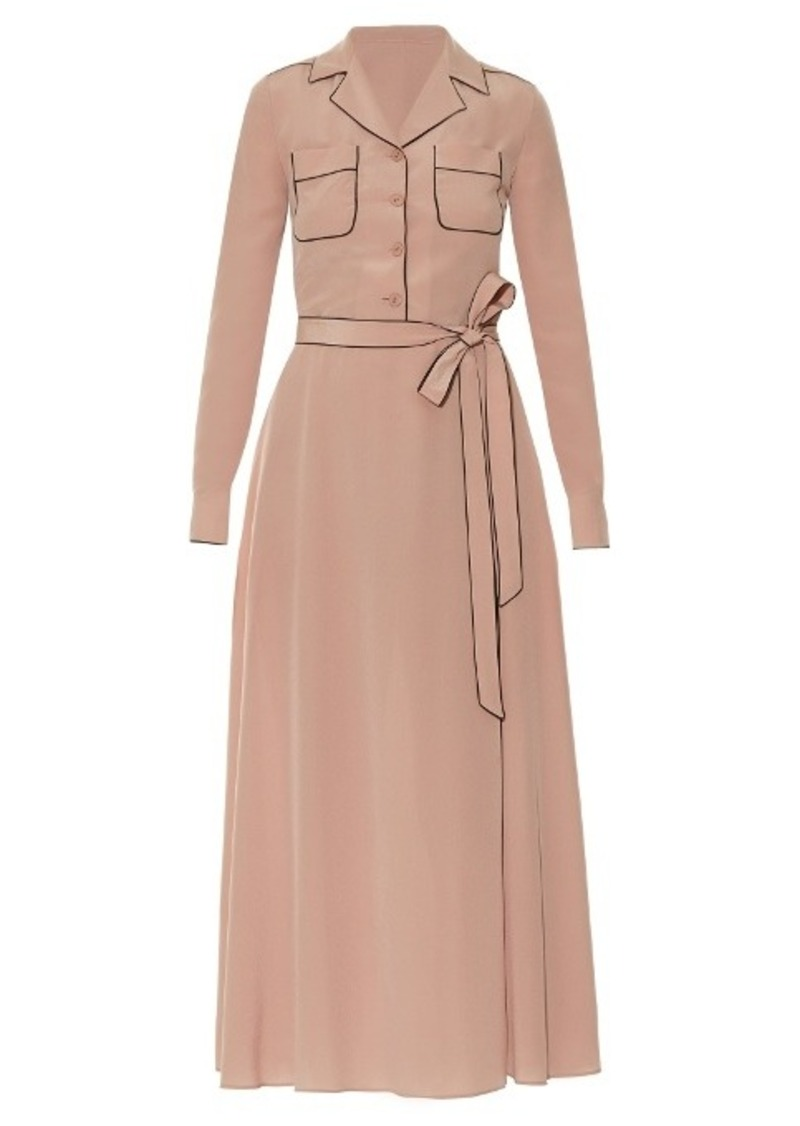 Valentino Tie-waist silk midi shirtdress