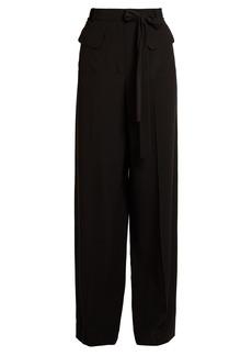 Valentino Tie-waist wide-leg silk crepe de Chine trousers