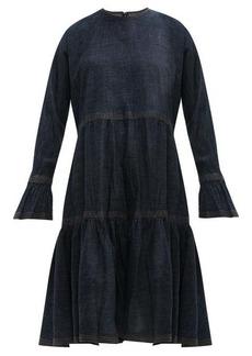Valentino Tiered cotton-denim dress