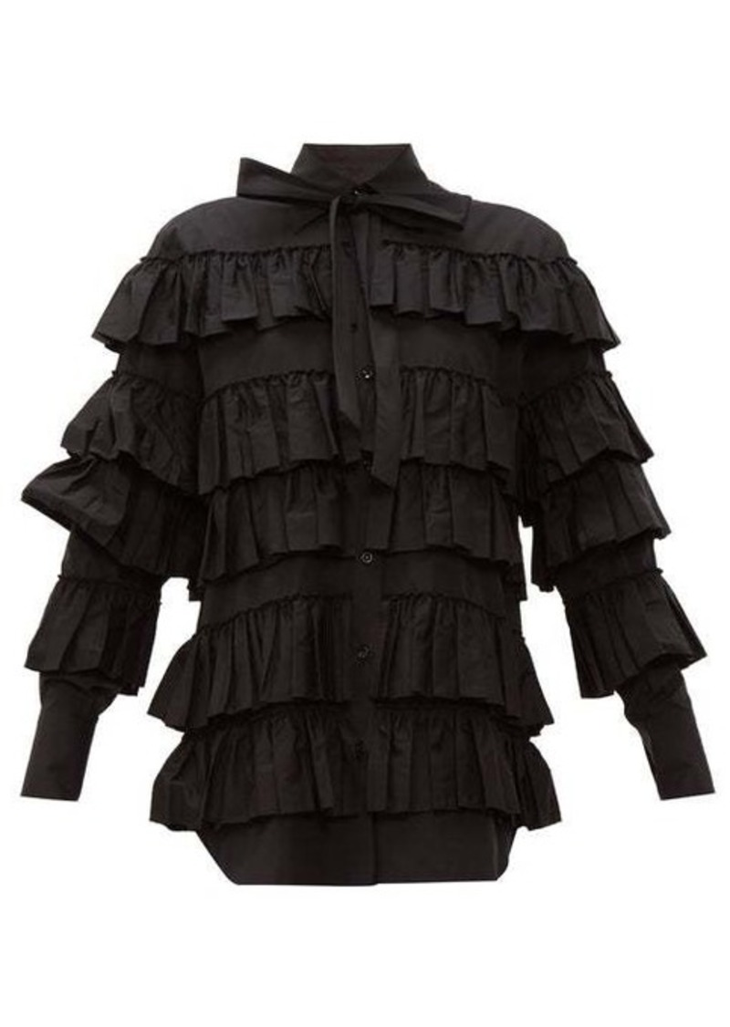 Valentino Tiered ruffled cotton blouse