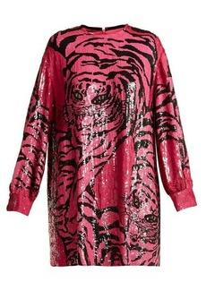 Valentino Tiger sequin-embellished silk-chiffon mini dress