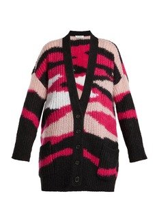 Valentino Tiger-stripe mohair-blend cardigan