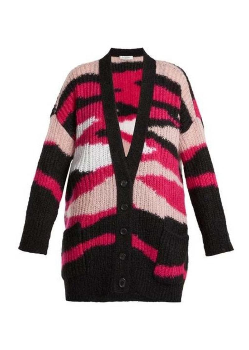 Valentino Tiger-stripe mohair-blend cardigan
