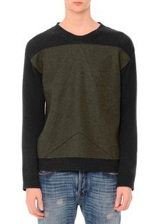 Valentino Tonal-Star Patch Colorblock Crewneck Sweater