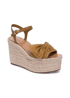 VALENTINO GARAVANI Tropical Bow Suede Espadrille Wedge Platform Sandals