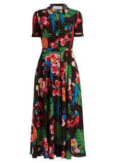 Valentino Tropical Dream-print crepe de Chine midi dress