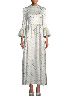 Valentino Trumpet-Sleeve Multicolor Polka-Dot Lamé Evening Gown