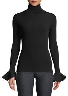 Valentino Turtleneck Long-Sleeve Ruffle-Cuff Viscose Stretch Sweater