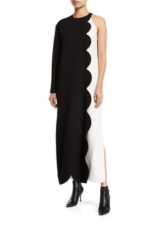 Valentino Two-Tone Scalloped One-Sleeve Dress